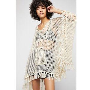 Free People Sand And Sea Crochet Poncho